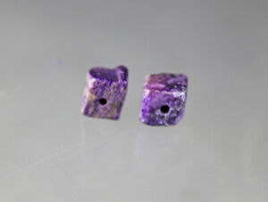 dkd#25X/ 6.5cts (2) RARE not quite Square Sugilite Beads