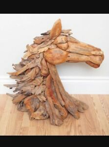 Stunning Carved Driftwood Horse Bust Sculpture Original