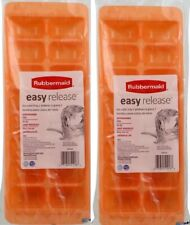 RUBBERMAID ORANGE EASY RELEASE ICE CUBE TRAY 2867B SET OF 2 NEW