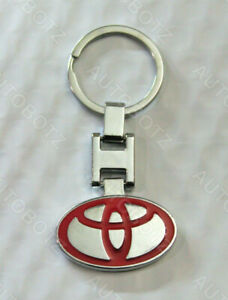 For Toyota Metal Chrome Emblem Red Style Keychain Key Fob Ring