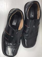 Mens Stanley Blacker Italy Black Leather Oxfords Zip Shoes Size 8.5 1/2 M