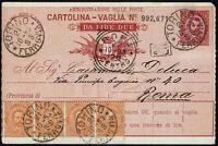 Cartolina vaglia da Lire  Due + affrancatura aggiuntiva cent.80