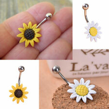 Sunflower Flower Surgical Steel Belly Button Navel Ring Piercing Body Jewelry
