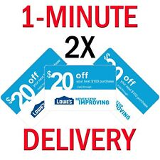 𝟐× Lowes $20 OFF $100Coupons Expires 𝟕/𝟏𝟓 In-Store ONLY - Instant Delivery