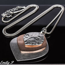 Long Statement Necklace Rose Gold & Silver Tone Hand Finished