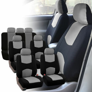 Car Seat Covers 3 Row for Auto SUV VAN 7 seaters Gray