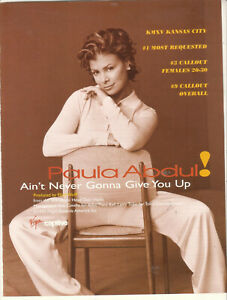 Paula Abdul 1995 Ad-  Ain't Never Gonna Give You Up Advertisement KMSV