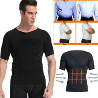 Men's Slimming Body Shaper Posture Corrector Vest Abdomen Compression Shirt Tops
