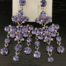 Luxury Statement Crystal Tanzanite Dangle Drop Evening Prom Party Earrings