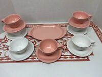 15 Piece Boontonware Melamine Melmac White And Pink Cup Saucers And Tray
