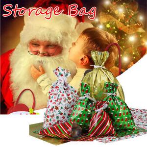 40PCS Large Christmas Sack Drawstring Wrap Present Party Gift Bag Reusable Xmas
