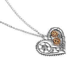 Retro Steampunk Necklace Heart Pendant Watch Gears Charm Jewelry Unisex Gift