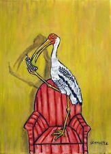 Stork Cell Phone bird painting art print poster 13x19 animals impressionism