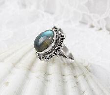 Labradorit Ring Gr. 60  925er Sterlingsilber blau grün schillernd Einzelstück