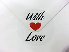 30 With Love Stickers - red loveheart and text on clear oval vinyl (110)