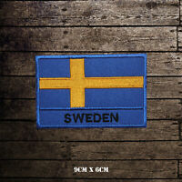 Sweden National Flag With Name Embroidered Iron On Sew On Patch Badge