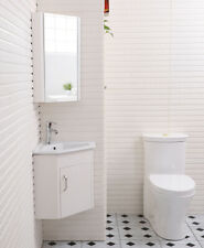 Corner Cloakroom Compact Wall Bathroom Vanity Cabinet Sink Unit Brown Grey White