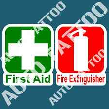 FIRST AID FIRE EXTINGUISHER DECAL STICKER SET FOR COMMERCIAL OH&S WARNING DECALS
