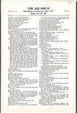 """[54321] 1934 """"THE AQUARIUM"""" INDEX TO VOLUME 3 (MAY 1934 thru APRIL 1935)"""