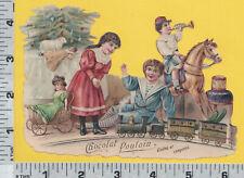 C295 Chocolat Poulain chocolate advertising Christmas die-cut scrap children toy
