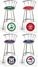 "Bar Stool 24"" Or 29"" Tall Vintage Gas Garage Auto Shop Themed Seat Chrome"