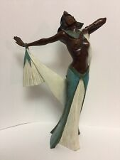 "Egyptian Dancer Goddess Sculpture Alva Museum Replica Cast Bronze 17.5"" Art Deco"