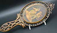 Traumhaft: antiker viktorianischer Handspiegel um 1840-50 geschnitzt, Intarsien