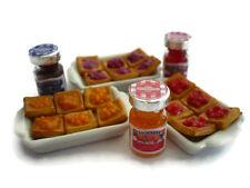 3 Set Bottles of Fruit Jam & Tart Pie Danish Dollhouse Miniatures Food Pastry