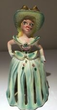 Victorian Woman Green Jeweled Candle/Napkin Holder Kreiss & Company 50s Vintage