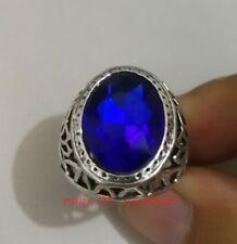 Elegant Tibet silver Carved Blue Gemstone men's ring
