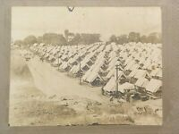 Antique Cabinet Card Photo Unidentified Military Encampment Camp Tents
