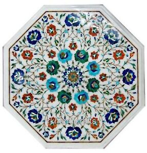 Octagonal Marble Coffee Table Top with Multi Gemstones Work Side Table 14 Inches