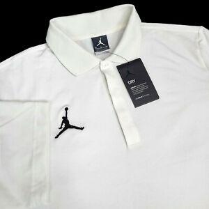 Nike Air Jordan Mens Medium Dri-Fit $75 Short Sleeve Polo Shirt White CD2216-100