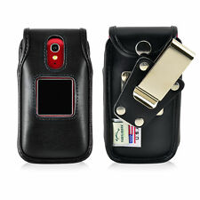 Greatcall Jitterbug Flip Case Black LEATHER Fitted Case Metal Remove Belt Clip