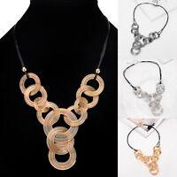 Vintage Jewelry Crystal Bib Choker Chain Pendant Chunky Statement Women Necklace