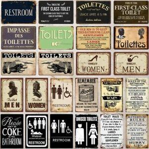 Toilet Metal Vintage Retro Plaques WC Signs Bathroom Home Wall Decor Sign Iron
