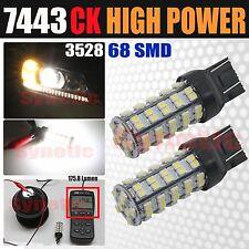 2x 7443 SRCK Socket 68 SMD White Brake Tail /Parking Turn Signal LED Light Bulbs
