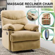 Beige Microfiber Massage Recliner Chair Heated Vibrating Lounge Sofa W/Control