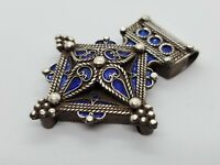 Fibula Pendant, Berber Amulet,Berber Jewelry,African Jewelry Antique Berber Silver Fibula Pendant red glass bead Southern Morocco