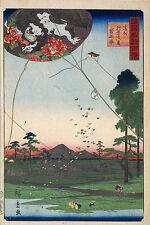 4 Japanese Scenes Woodblock Prints Set Mount Fuji in Snow Kites Temple Pictures