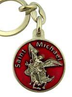 Red Enamel Saint Michael Medal with Prayer Key Chain, 1 1/8 Inch