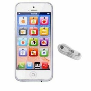 Toy Phone Smart Baby Children Kids Educational Learn Iphone USB Mobile White