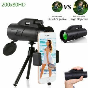 200X80 HD Zoom Optics Monocular BAK4 Telescope+ Phone Tripod+Cell Clip Gifts