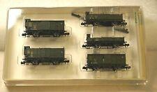 MINITRIX Spur N 15005 - Wagen-Set mit 5 Güterwagen, jeweils 2-achsig, grün - OVP