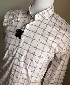 NWT $128 BOSS Hugo Boss Mens Slim Fit White/Red Dress Shirt M
