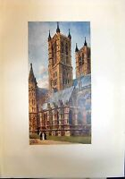 Original Old Antique Print Architecture Lincoln Cathedral West Towers Colour