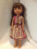 """Wellie Wishers Brown Burgundy Dress 14"""" doll clothes outfit fit American Girl"""