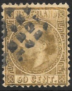 NETHERLANDS 1857 50c gold, FU. SG 16. Cat.£225.