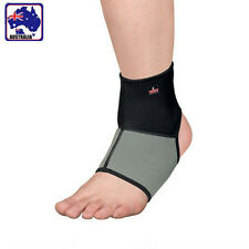 Black Grey Elastic Sports Ankle Brace Protector Support Wrap OANKL0301