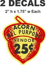 2 Oak Acorn Vending North Western Gumball Machine 25 cent Vendor Vinyl Decals